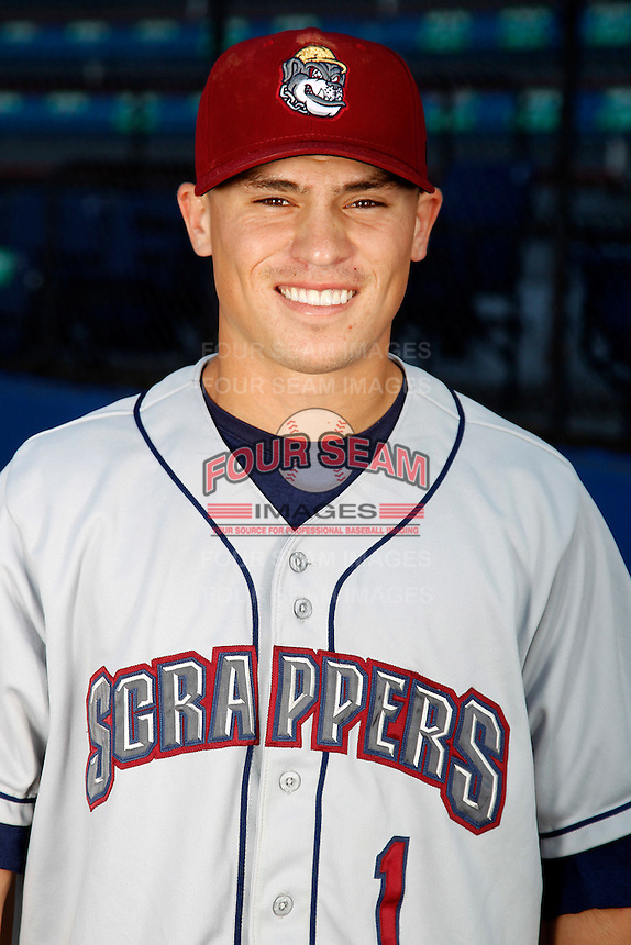 Mahoning Valley Scrappers shortstop Tony Wolters #1 poses for a photo before a game against the Jamestown Jammers at Russell E. Diethrick Jr Park on September 2, 2011 in Jamestown, New York.  Mahoning Valley defeated Jamestown 8-4.  (Mike Janes/Four Seam Images)