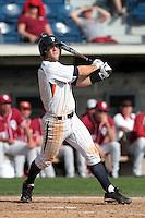 Joe Sever (9) of the Pepperdine Waves bats against the Oklahoma Sooners at Eddy D. Field Stadium on February 18, 2012 in Malibu,California. Pepperdine defeated Oklahoma 10-0.(Larry Goren/Four Seam Images)