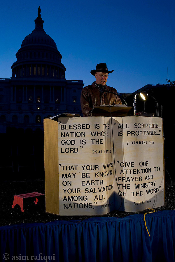 A bible reading marathon continues outside the Capitol Building.  The events was part of a series of events planned for the National Day of Prayer, sponsored by the National Day of Prayer Task Force headed by Shirley Dobson of the Dobson's of the Focus on the Family evangelica group<br />