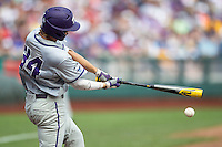 TCU Horned Frogs second baseman Garrett Crain (34) swings the bat against the LSU Tigers in the NCAA College World Series on June 14, 2015 at TD Ameritrade Park in Omaha, Nebraska. TCU defeated LSU 10-3. (Andrew Woolley/Four Seam Images)