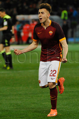 04.03.2016. Stadium Olimpico, Rome, Italy.  Serie A football league. AS Roma versus Fiorentina.  El Sharaawi celebration after the score