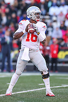 College Park, MD - November 12, 2016: Ohio State Buckeyes quarterback J.T. Barrett (16) in action during game between Ohio St. and Maryland at  Capital One Field at Maryland Stadium in College Park, MD.  (Photo by Elliott Brown/Media Images International)