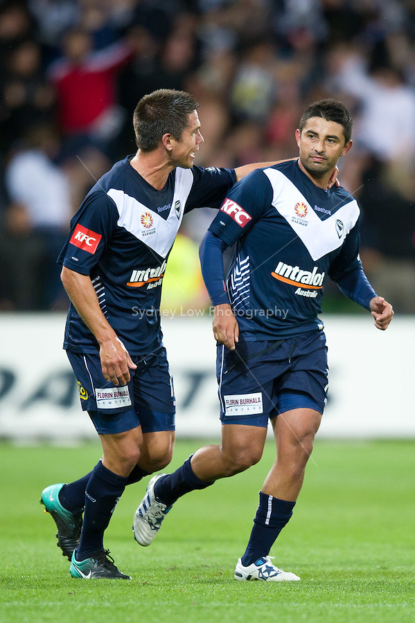 MELBOURNE, AUSTRALIA - NOVEMBER 18: Carlos Hernandez of the Victory celebrates his goal during the round 14 A-League match between the Melbourne Victory and Central Coast Mariners at AAMI Park on November 18, 2010 in Melbourne, Australia (Photo by Sydney Low / Asterisk Images)