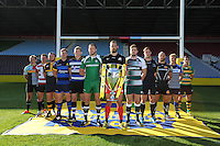 Captains from the 12 clubs at the Aviva Premiership Rugby launch at the Twickenham Stoop on Thursday 08 October 2015 (Photo by Rob Munro/Stewart Communications)