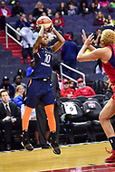 Washington, DC - June 3, 2018: Connecticut Sun guard Courtney Williams (10) shoots a jump shoot during game between the Washington Mystics and Connecticut Sun at the Capital One Arena in Washington, DC. (Photo by Phil Peters/Media Images International)