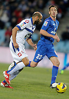 Getafe's Borja Fernandez against Deportivo de La Coruna's Manuel Pablo during La Liga match. February 01, 2013. (ALTERPHOTOS/Alvaro Hernandez) /NortePhoto