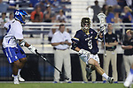 DURHAM, NC - APRIL 28: Notre Dame's Brendan Gleason (9) and Duke's JT Giles-Harris (left). The Duke University Blue Devils played the University of Notre Dame Fighting Irish on April 28, 2017, at Koskinen Stadium in Durham, NC in a 2017 ACC Men's Lacrosse Tournament Semifinal match. Notre Dame won the game 7-6.
