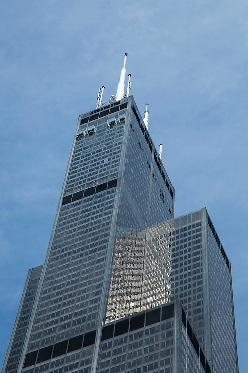 Looking up at the Willis Tower 233 South Wacker Dr. (formerly the Sears Tower) on a clear summer day, Wednesday, July 22, 2015. (DePaul University/Jeff Carrion)