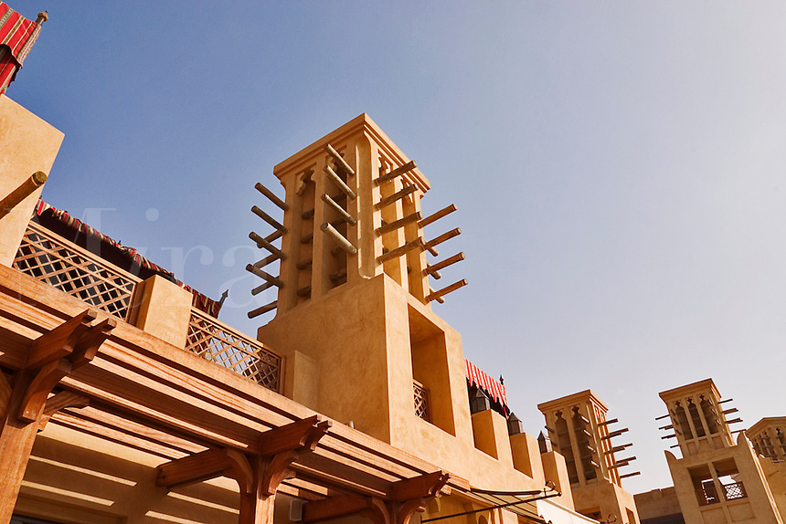 Dubai, United Arab Emirates. Madinat Jumeirah Souk. Reconstruction of the traditional wind towers of the region. Efficient form of forced draft air conditioning..