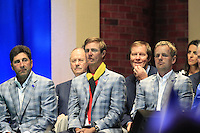 European Team Captain Jose Maria Olazabal (ESP), Nicolas Colsaerts (BEL) and Luke Donald (ENG) on stage at the Closing Ceremony after Sunday's Singles Matches of the 39th Ryder Cup at Medinah Country Club, Chicago, Illinois 30th September 2012 (Photo Colum Watts/www.golffile.ie)