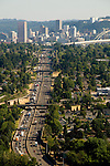 Aerial of Interstate 5 heading south into Portland, Oregon