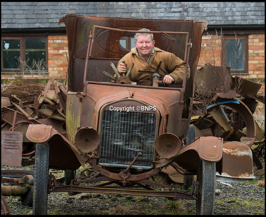 BNPS.co.uk (01202 558833)<br /> Pic: PhilYeomans/BNPS<br /> <br /> Neil with current stock awaiting restoration.<br /> <br /> Garage that time forgot...<br /> <br /> Business is booming at Neil Tuckets time warp garage in the heart of Buckinghamshire - Where you can by any car…as long as its a Model T Ford.<br /> <br /> Despite his newest models being nearly 90 years old, Neil struggles to keep up with demand with customers snapping up one a week, despite their rudimentary levels of comfort and trim.<br /> <br /> Neil sources his spares from all over the globe and carefully puts the machines back together again.<br /> <br /> 'There like a giant meccano set really, and so beautifully simple and reliable they just won't let you down...You also don't require road tax or and MOT!'