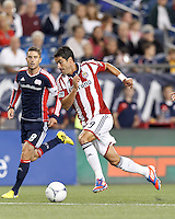 Chivas USA substitute forward Juan Pablo Angel (9) on the attack. In a Major League Soccer (MLS) match, the New England Revolution tied Chivas USA, 3-3, at Gillette Stadium on August 29, 2012.