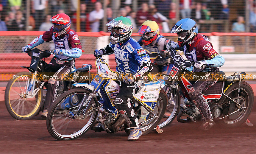 Heat 14: Bjarne Pedersen (green), Jonas Davidsson (red), Stuart Robson (blue) and Steve Boxall (yellow) - Lakeside Hammers vs Poole Pirates, Elite League Speedway at the Arena Essex Raceway, Purfleet - 20/07/09 - MANDATORY CREDIT: Rob Newell/TGSPHOTO - Self billing applies where appropriate - 0845 094 6026 - contact@tgsphoto.co.uk - NO UNPAID USE.