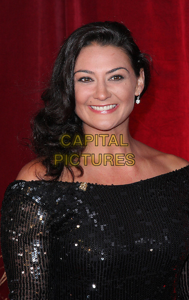 NATALIE ROBB & GUEST.British Soap Awards 2010 at the London ITV Studios, South Bank, London, England..May 8th 2010.arrivals headshot portrait black dress sparkly sequins sequined .CAP/ROS.©Steve Ross/Capital Pictures.