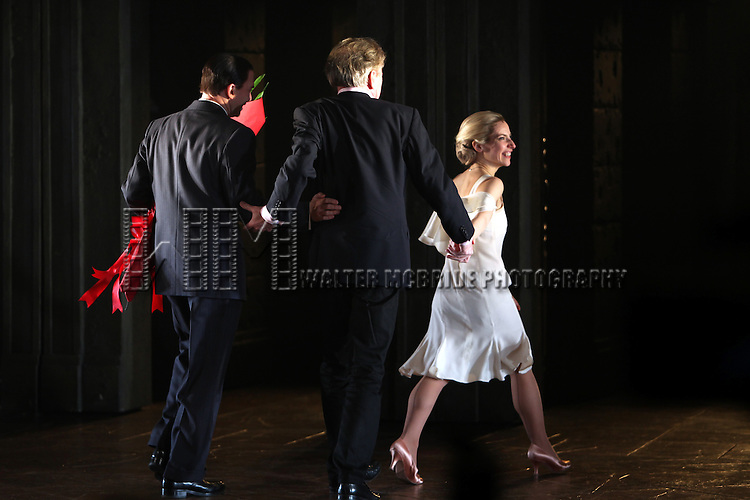 Michael Cerveris & Elena Roger with Andrew Lloyd Webber.during the Broadway Opening Night Performance Curtain Call for 'EVITA' at the Marquis Theatre in New York City on 4/5/2012
