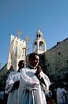 Bethlehem, the Latin Christmas Procession at Manger  Square, the Church of the Nativity in the background&#xA;<br />