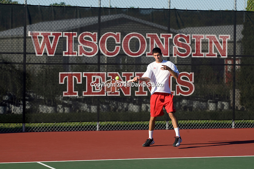 MADISON, WI - SEPT 16: Michael Koval of the 2008-09 Wisconsin Badgers men's tennis team on September 16, 2008, in Madison, Wisconsin. (Photo by David Stluka)