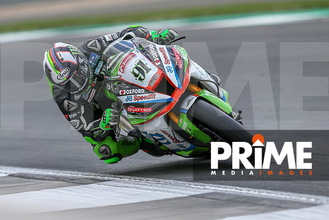 Leon HASLAM (91) of the BSB JG Speedfit Kawasaki race team during Free Practice 2 at Round 9 of the 2018 British Superbike Championship at Silverstone Circuit, Towcester, England on Friday 7 September 2018. Photo by David Horn.