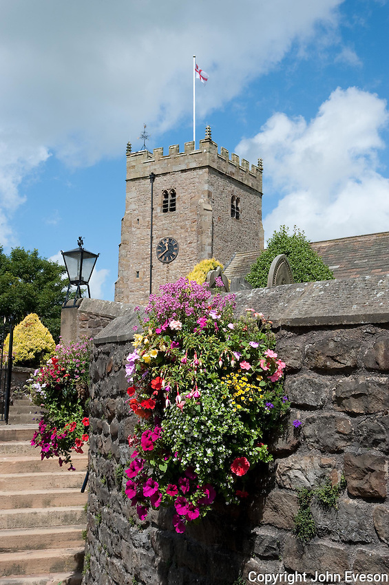 St. Bartholomew's Church with flowers, Chipping, Lancashire.