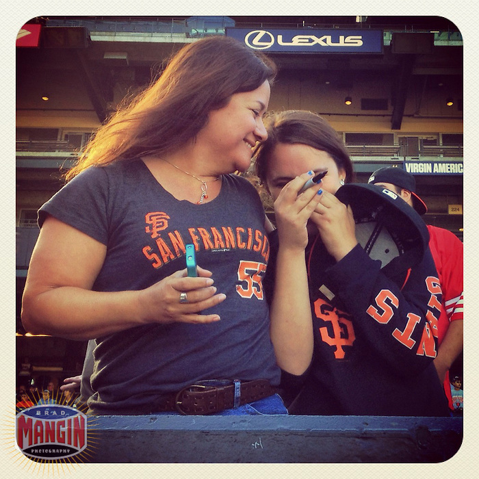 SAN FRANCISCO, CA - JUNE 13: Instagram of San Francisco Giants fans excited to get an autograph before pitcher Matt Cain throws a perfect game against the Houston Astros at AT&T Park on June 13, 2012 in San Francisco, California. (Photo by Brad Mangin)