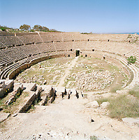 Ampitheatre at the ruined Roman city of Leptis Magna, Libya