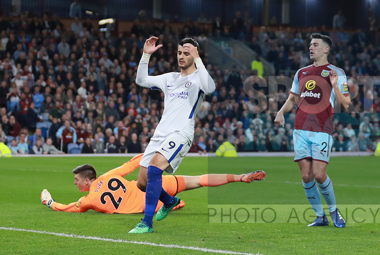 Alvaro Morata of Chelsea reacts after failing to score during the premier league match at the Turf Moor Stadium, Burnley. Picture date 19th April 2018. Picture credit should read: Simon Bellis/Sportimage