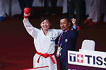 -R) <br /> Ayumi Uekusa, <br /> €  Hideto Nakano (JPN), <br /> AUGUST 25, 2018 - Karate : <br /> Women's Kumite +68kg final <br /> at Jakarta Convention Center Plenary Hall <br /> during the 2018 Jakarta Palembang Asian Games <br /> in Jakarta, Indonesia. <br /> (Photo by Naoki Nishimura/AFLO SPORT)
