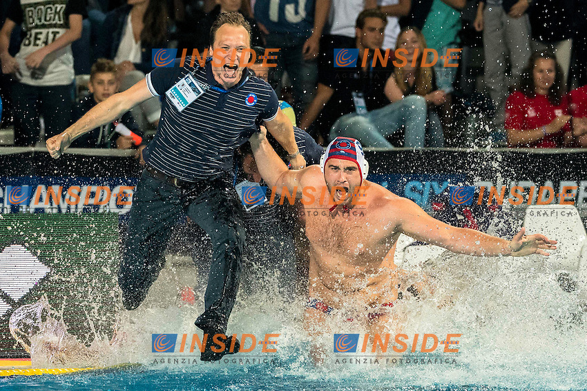 Jug Dubrovnik Gold Medal Celebration <br /> Jug Dubrovnik (white cap) vs Olympiacos (blue cap)<br /> Budapest, Alfred Hajos National Swimming Complex<br /> LEN 2016 Water Polo Champions League Final Six<br /> Budapest HUN June 2 - 5, 2016<br /> Day 03 June 4, 2016<br /> Photo Giorgio Scala/Deepbluemedia/Insidefoto