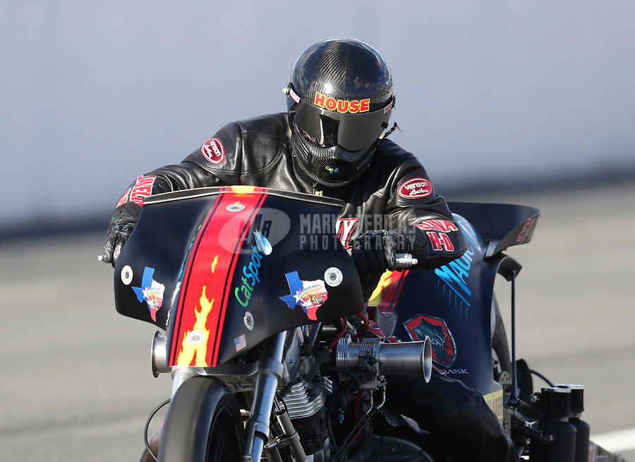 Feb 9, 2019; Pomona, CA, USA; NHRA top fuel Harley Davidson nitro motorcycle rider Rickey House during the Winternationals at Auto Club Raceway at Pomona. Mandatory Credit: Mark J. Rebilas-USA TODAY Sports