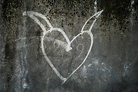 Switzerland. Canton Ticino. Lugano. Graffiti. A heart on the wall. 12.01.2020  © 2020 Didier Ruef