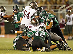 Torrance, CA 10/09/15 - Reza Amraei (South #59), Sean Fitzgerald (South #42), Juan Mosquera (Torrance #71), Robert Fuerte (Torrance #54), Cameron Dillon (South #44) in action during the Torrance vs South High varsity football game.  South defeated Torrance 24-21.