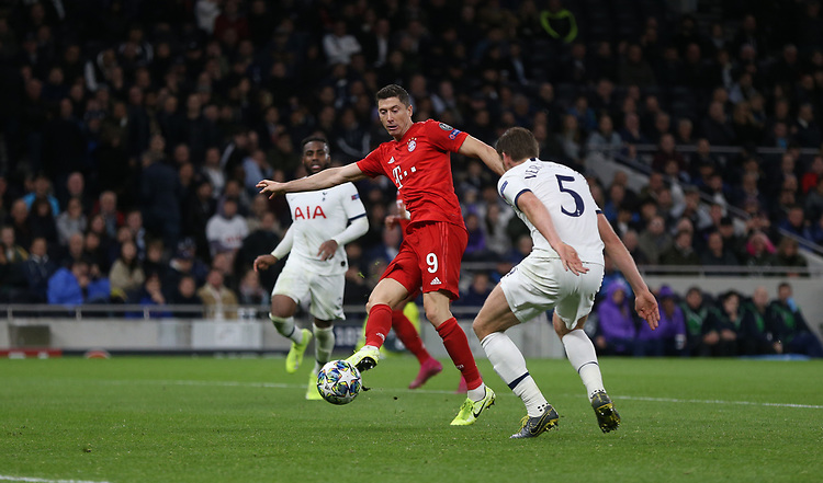 Bayern Munich's Robert Lewandowski scores his side's sixth goal  <br /> <br /> Photographer Rob Newell/CameraSport<br /> <br /> UEFA Champions League Group B  - Tottenham Hotspur v Bayern Munich - Tuesday 1st October 2019 - White Hart Lane - London<br />  <br /> World Copyright © 2018 CameraSport. All rights reserved. 43 Linden Ave. Countesthorpe. Leicester. England. LE8 5PG - Tel: +44 (0) 116 277 4147 - admin@camerasport.com - www.camerasport.com