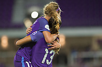 Orlando, FL - Thursday September 07, 2017: Alex Morgan celebrates her goal with Dani Weatherholt during a regular season National Women's Soccer League (NWSL) match between the Orlando Pride and the Seattle Reign FC at Orlando City Stadium.
