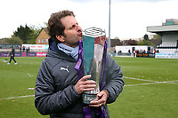 Arsenal Women manager Joe Montemurro with the FA Women's Super League Trophy  during Arsenal Women vs Manchester City Women, FA Women's Super League Football at Meadow Park on 11th May 2019