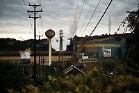 The Edgar Thompson steel plant lets off steam as the sun sets on Monday October 22, 2018 in Braddock, Pennsylvania. (Photo by Jared Wickerham/City Paper)