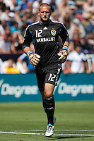 Los Angeles Galaxy goalkeeper Josh Saunders (12) subs in as goal keeper. The San Jose Earthquakes tied the Los Angeles Galaxy 0-0 at Buck Shaw Stadium in Santa Clara, California on June 25th, 2011.