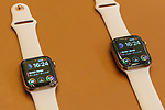 Samples of the new iWatch (Series 4) on display at the Apple Store in Omotesando on September 21, 2018, Tokyo, Japan. Apple fans lined up patiently in the early morning rain to get the new iPhone models (XS and XS Max) and the new iWatch (Series 4). The new iPhone XS costs JPY 112,800 for the 64 GB model, the iPhone XS Max costs JPY 124,800 JPY for the 64 GB model, and iWatch Series 4 costs JPY 45,800. (Photo by Rodrigo Reyes Marin/AFLO)