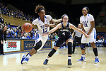 22 November 2016: Duke's Crystal Primm (13) moves past Old Dominion's Jessica Munoz (4) and Duke's Kendall Cooper (21). The Duke University Blue Devils hosted the Old Dominion University Monarchs at Cameron Indoor Stadium in Durham, North Carolina in a 2016-17 NCAA Division I Women's Basketball game. Duke won the game 92-64.