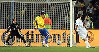 Clint Dempsey of USA scores the opening goal. USA leads Brazil 2-0 after the first half during the FIFA Confederations Cup Final at Ellis Park Stadium in Johannesburg, South Africa on June 28, 2009..
