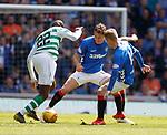 12.05.2019 Rangers v Celtic: Nikola Katic tackles Odsonne Edouard