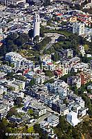 aerial view above Coit Tower Telegraph Hill San Francisco California