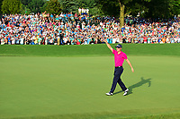 Justin Thomas (USA) gives a thumbs up to the large crowd on 18 following Sunday's final round of the PGA Championship at the Quail Hollow Club in Charlotte, North Carolina. 8/13/2017.<br /> Picture: Golffile | Ken Murray<br /> <br /> <br /> All photo usage must carry mandatory copyright credit (&copy; Golffile | Ken Murray)
