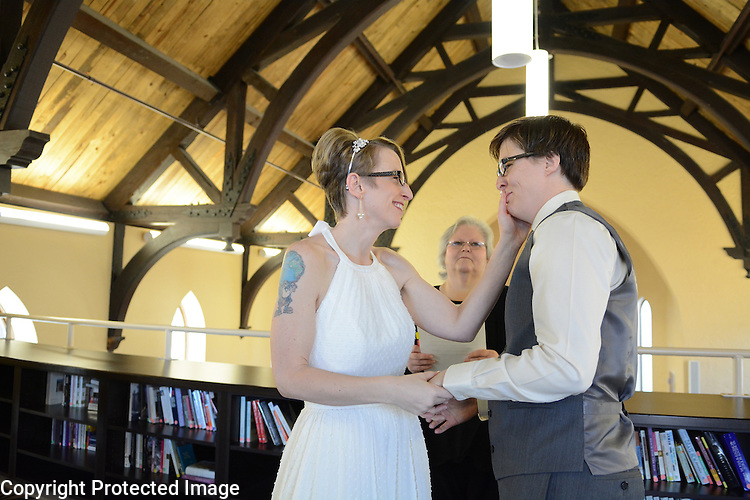 Raechelle Clemmons and Dana Swiecichowski wedding in De Pere, Wis., on January 2, 2015.