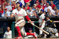 Philadelphia Phillies outfielder Hunter Pence #3 pops out to end the game against the Pittsburgh Pirates on June 28, 2012 at Citizens Bank Park in Philadelphia, Pennsylvania. The Pirates defeated the Phillies 5-4. (Andrew Woolley/Four Seam Images)..