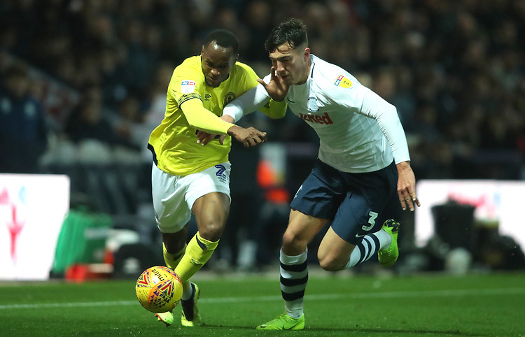 Blackburn Rovers' Ryan Nyambe and Preston North End's Josh Earl<br /> <br /> Photographer Rachel Holborn/CameraSport<br /> <br /> The EFL Sky Bet Championship - Preston North End v Blackburn Rovers - Saturday 24th November 2018 - Deepdale Stadium - Preston<br /> <br /> World Copyright © 2018 CameraSport. All rights reserved. 43 Linden Ave. Countesthorpe. Leicester. England. LE8 5PG - Tel: +44 (0) 116 277 4147 - admin@camerasport.com - www.camerasport.com