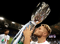 Calcio, Football - Juventus vs Lazio Italian Super Cup Final  <br /> Lazio's Ciro Immobile kisses the trophy after winning the Italian Cup Final match at Rome's Olympic stadium, on August 13, 2017.<br /> UPDATE IMAGES PRESS/Isabella Bonotto