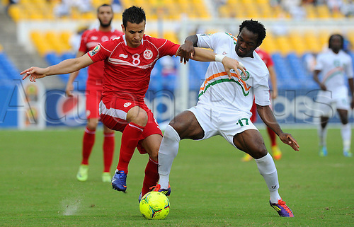 27 01 2012  Khaled Korbi Tunisia and William Niger Football Niger versus Tunisia in Group D of the  Africa Cup of Nations football tournament
