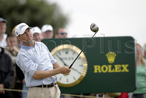 15 July 2005: American golfer Davis Love III (USA) plays from  the 5th Tee during the second round. Love shot a 2 over par 74 to miss the cut on 5 over par in The Open Championship on The Old Course at St Andrews, Scotland. Photo: Glyn Kirk/Actionplus....050715 golf major british