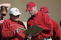 17 February 2008: Stanford Cardinal assistant coach Susan Ortwein (left) and head coach John Tanner (right) during Stanford's 10-5 win against the UC Davis Aggies at Maples Pavilion in Stanford, CA.